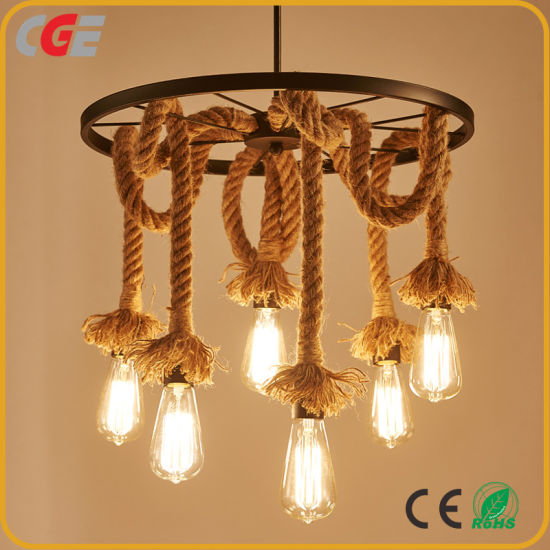 Retro Vintage Rope Loftope Pendant Light Chandelier Modern New Design LED Industrial Hemp Rope Chandelier Lamp with Edison Bulb pictures & photos
