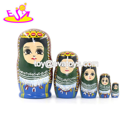 2020 Hand Painted 5 in 1 Wooden Toy Nesting Dolls for Children W06D144 pictures & photos