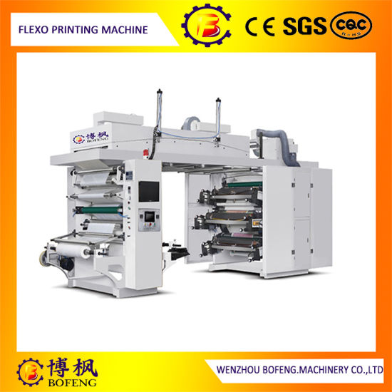 High Speed PLC Control Six Color PE/BOPP/OPP/Paper Ci Flexographic/Flexo Printing Machine with Ceramic Roller