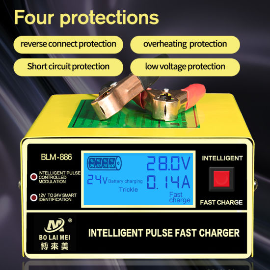 12 V 24 V 6 Ah 400 Ah Automatic Recognition Battery Charger for Car
