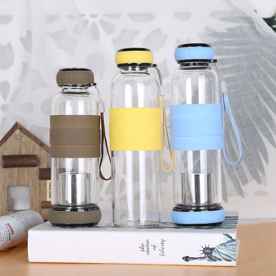 550ml Unbreakable Wide Mouth Tea Filter Glass Water Bottle with Silicone Sleeve for Sports
