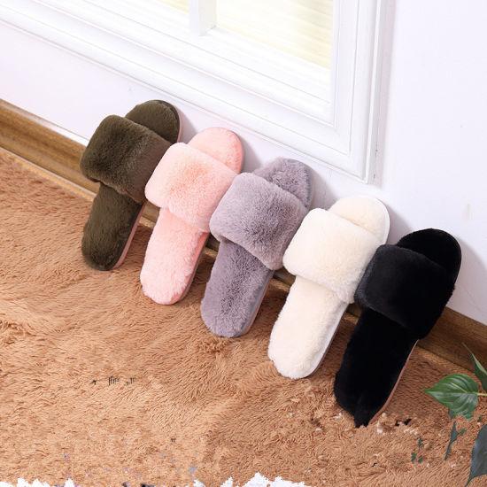 Warm Fluffy Open Toe Fur Slides