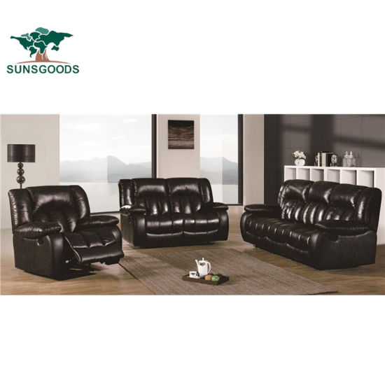 China Best Leather Sofa Brands Black