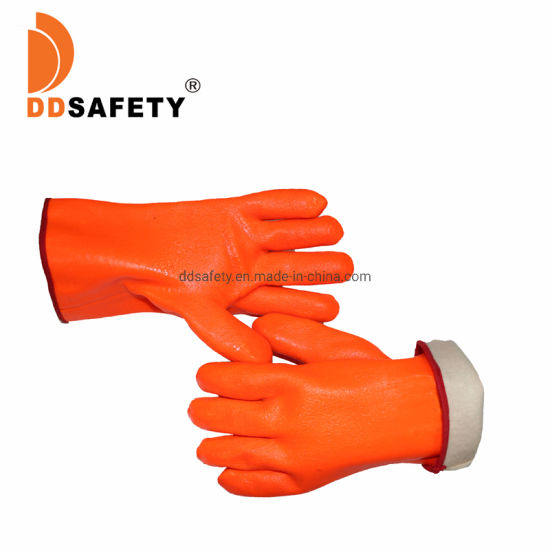 Orange PVC Rubber Fluorescence Oil Proof Dust Proof Industrial Safety Work Gloves, PVC Winter Frozen Warm Work Insulating Insulation Hand Gloves