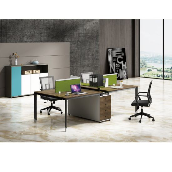 China Hot Selling 4 Person Design Layout Office Workstation Table China Two Person Workstation 2 Seats Office Partition