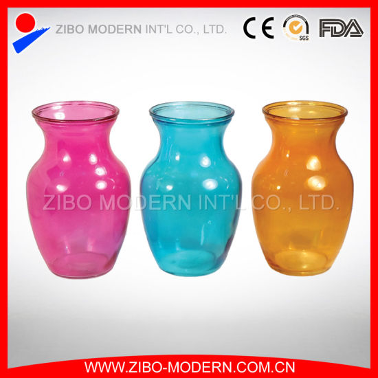 colored glass vases semi color sprayed cheap colored glass flower vase - Colored Glass Vases