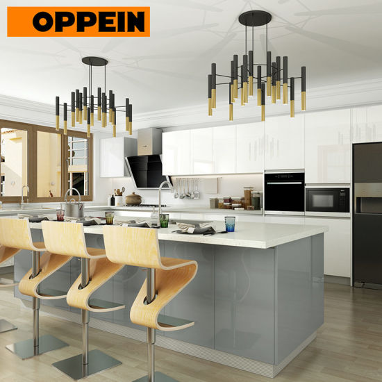 Oppein High Gloss MDF Lacquer Color Combinations Modern Kitchen Cabinets