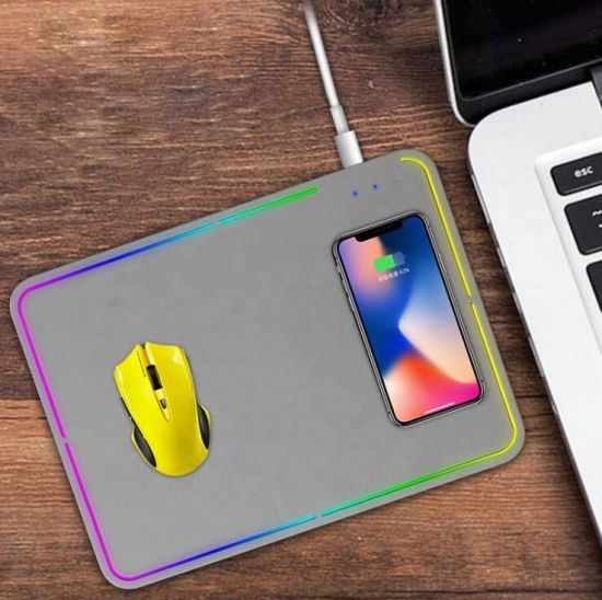 Wireless Fast Charging Mouse Pad Mat Backlit RGB Gaming Mouse Pad for Computer