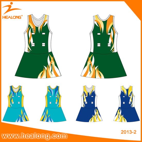 Healong Sportswear Sublimation Women Netball Bodysuit with Shorts Uniforms pictures & photos