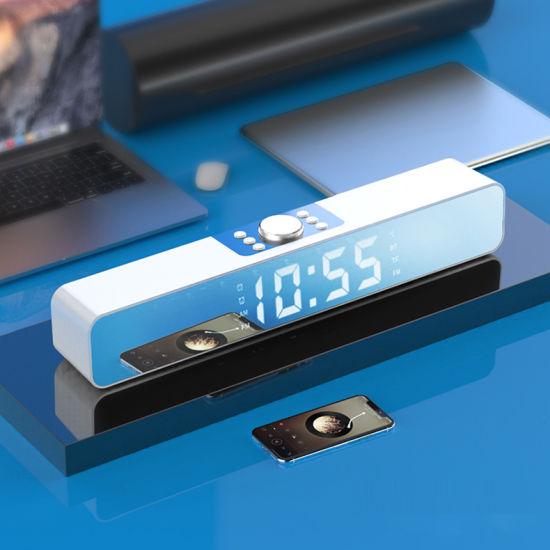 Wholesalers Customize 2 in 1 Mirror LED Display Portable Waterproof Cheap Alarm Clock Wireless Bluetooth Speaker