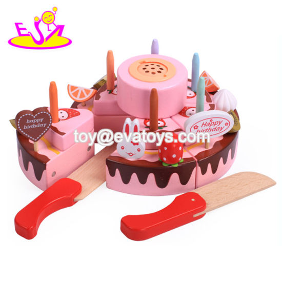China Diy Wooden Toy Birthday Cake Set For Kids Pretend Play