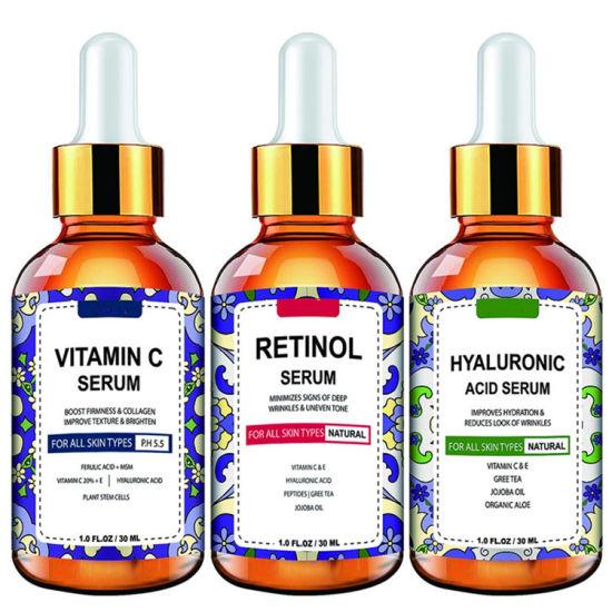 OEM/ODM Vitamin C Serum, Retinol Serum, Hyaluronic Acid Serum Set for All Skin