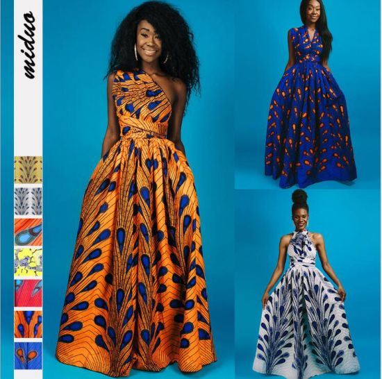 Printed Bandages Wear More African Dress Ethnic Women's Sexy Split Long Dresses