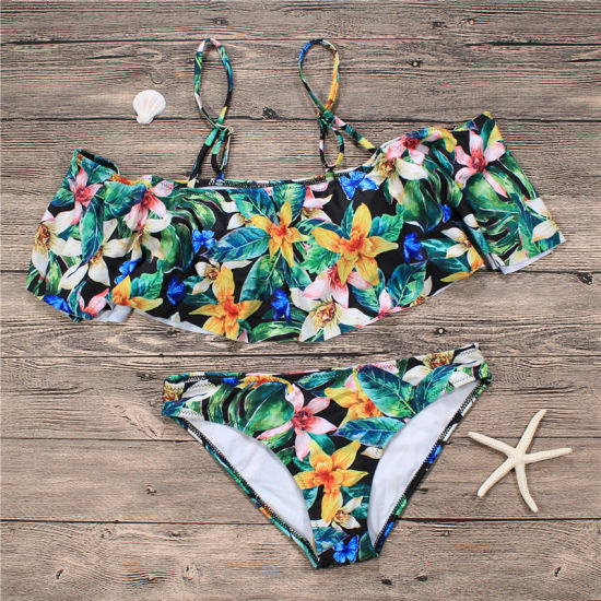 e1ab0fdfc47 Womens Push up Padded Bikini Floral Printing Bottom Swimsuit 2 Piece  pictures & photos