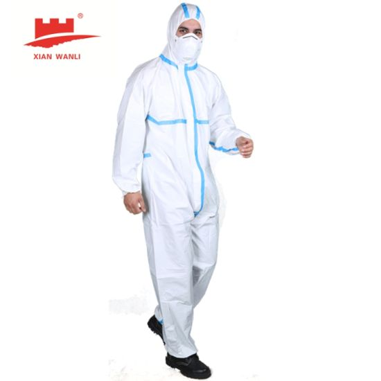 CE En14605 En14126 Cat III Type 4/5/6 Disposable Coverall Medical Protective Suit Tape Seam Chemical Coverall