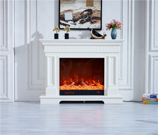 China Modern Simple Wood Fireplace Mantel Electric Fireplace With