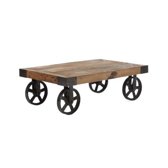 Rustic Cart Coffee Table On Wheels Casters