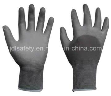 Great Grip Construction Grey Nylon Work Glove with Knuckle Dipped PU (PN8009)