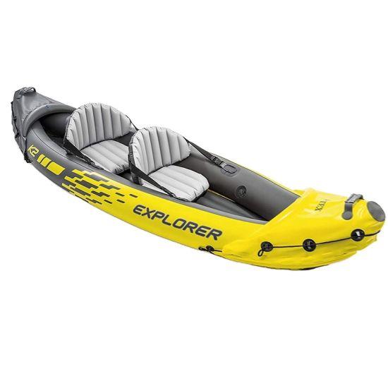 2-Person Inflatable Kayak Canoe PVC Dinghy Raft Pump Seat Drop-Stitch Floor Laminated Professional Sport Water Kayak
