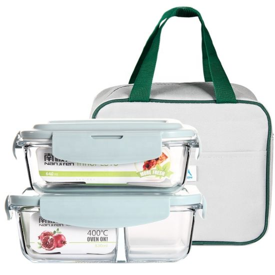 Glass Lunch Box with Compartments Microwave Bento Box for Kids Food Container with Tableware Set Leakproof Food Box