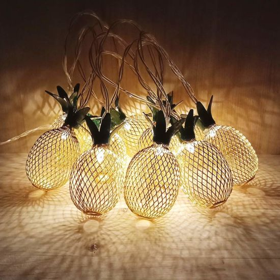 Indoor Metal Iron Pineapple LED String Light Decoration for Garden Home Party