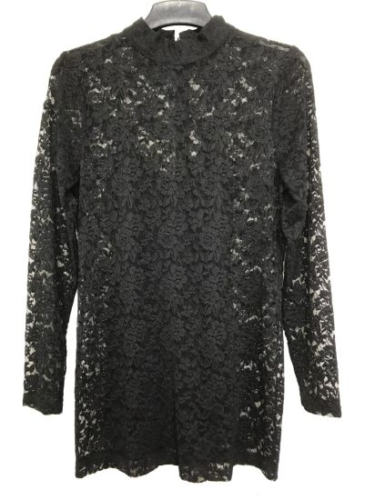 Ladies Stand Collar Black Lace Blouse