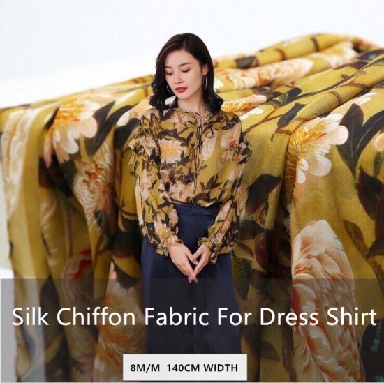 8 Momme 100% Natural Mulberry Silk Chiffon Fabric for Dress and Shirt