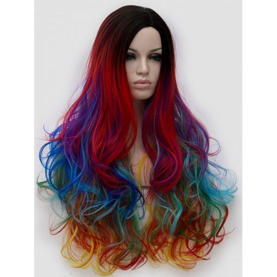 2019 Rainbow Wigs Factory Price Synthetic Hair Party Wig for Sale