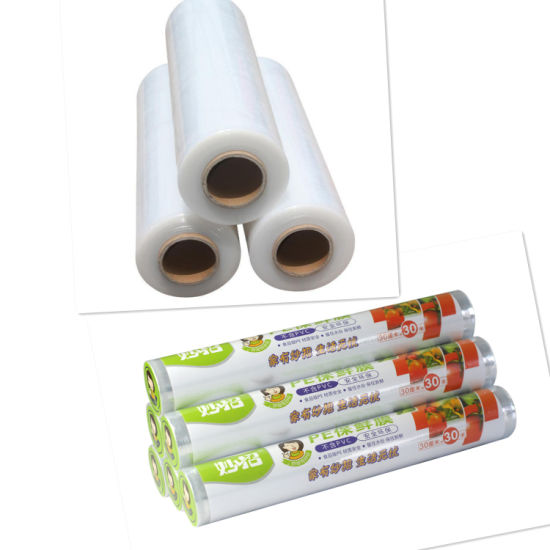 Factory Manufacture PE Cling Food Wrap Film, Food Plastic Wrap Food Grade  PE Cling Film LLDPE Stretched Film