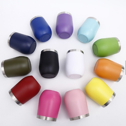 12oz Double Wall Stemless Wine Glass Vacuum Insulated Travel Tumbler Wine Drinking Cup with Slide Lid