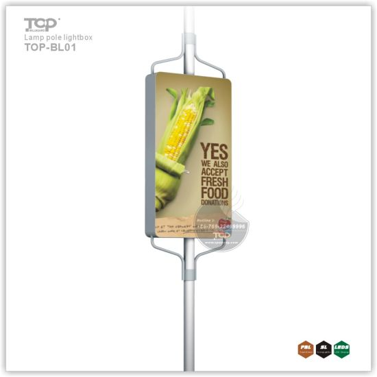 Outdoor Double Side Static Banner Lamp Pole Light Box