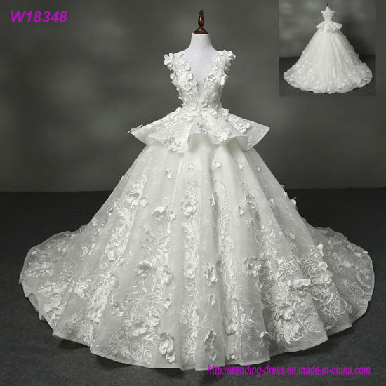 New Design Wholesale White Long Wedding Dress W18348 pictures & photos