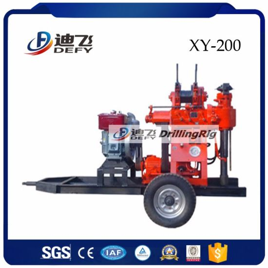 Trailer Mounted Portable Water Well Core Drilling Rig 200m pictures & photos