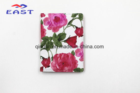 Women ′ S Style PU Leather Passport Holder with Flower pictures & photos