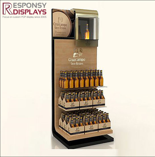 Best Quality Floor Beer Bottle Stand Wood Wine Display Cabinet with Logo pictures & photos
