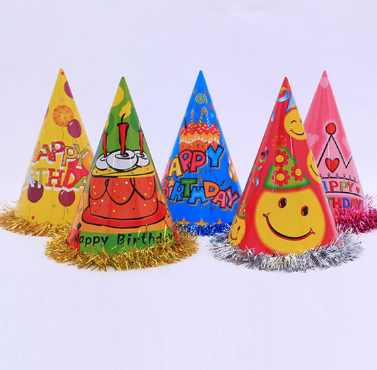 Cartoon Printing Birthday Paper Hats with Laces pictures & photos