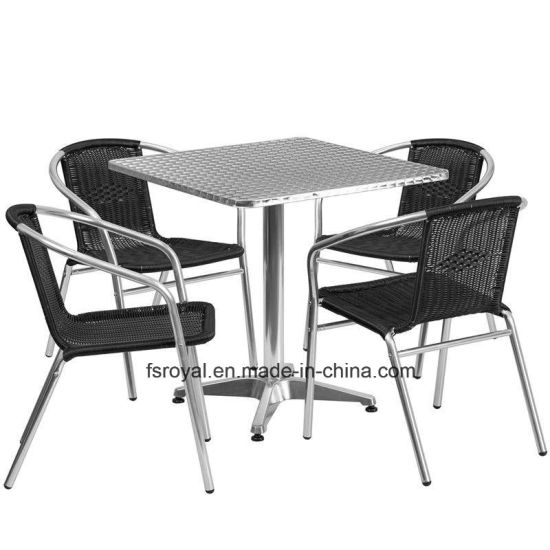 Wholesale Chinese Restaurant Garden Furniture Set Outdoor Rattan Leisure Dining Table Chair