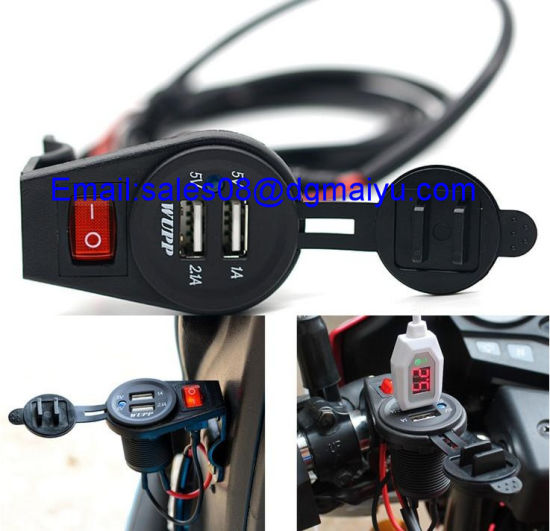 Newest 5V 2.1A Motorcycle Mobile Waterproof Dual USB Power Supply Port Socket Charger with Switch Control