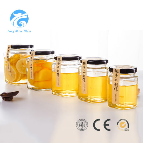 500ml Glass Honey Jar 6 Polygon Glass Drinking Jar For Storage