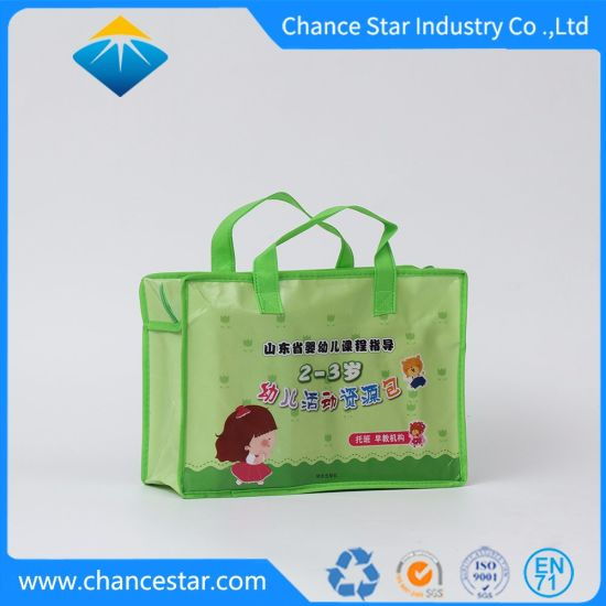 Custom Printed PP Reusable Nonwoven Shopping Bag with Zipper