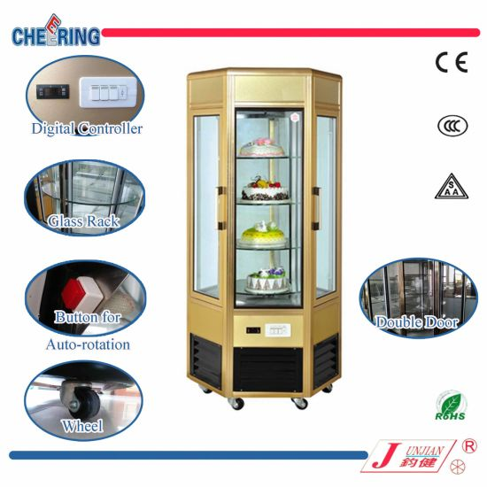 China Ce Approval Two Door Glass Rotation Cake Display Showcase