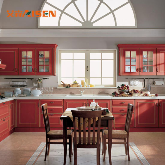 Asien Water Proof Red Solid Wood Kitchen Cabinet Furniture