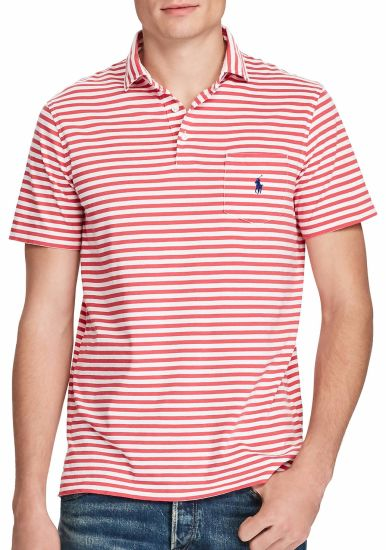 Mens Simple Style Classic Striped Cotton Polo Shirt