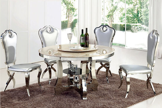 Modern Dining Table Set Glass Round Dining Table With Rotating Centre