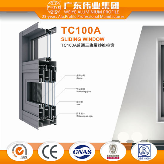 Chinese Factory Three Tracks Aluminium Sliding Window with Flyscreen