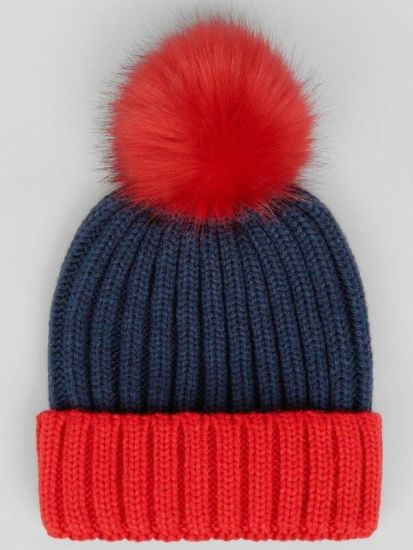 Blue Color Block POM POM Hat Knitted Beanie Women's Accessories