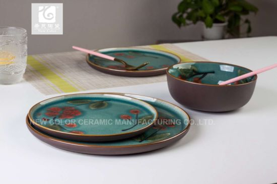 Handing Printing Dinner Set 3PCS Set & China Handing Printing Dinner Set 3PCS Set - China Porcelain Dinner ...