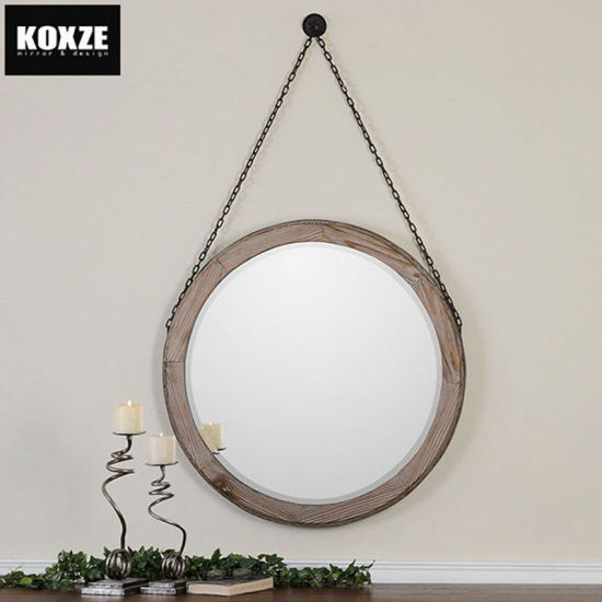 Round Antique Hanging Wood Framed, How To Hang Vintage Mirror On Chain