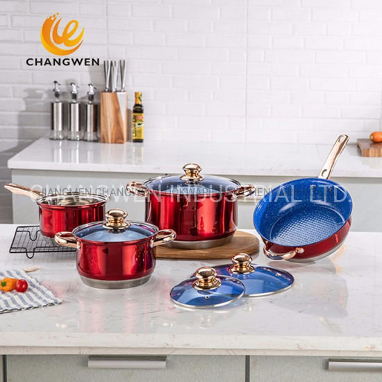 Colorful 12 PCS Heavy Cook Ware Set Stainless Steel Cookware with BSCI LFGB FDA