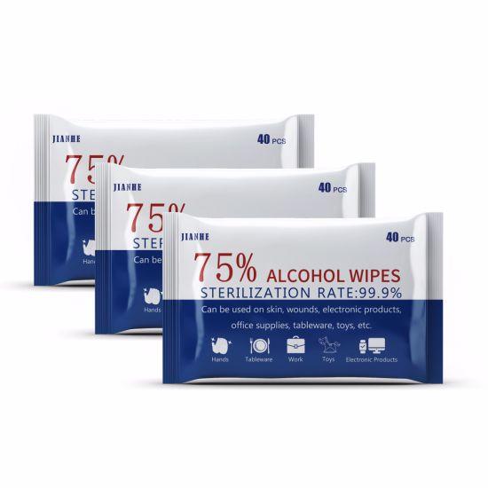 Bulk Wholesale Custom Ethanol 75% 10PCS Alcohol Wet Tissue Antibacterial Disinfecting Cleaning Alcohol Hand Sanitizer Wipes